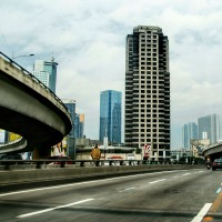 Philippines: The Ortigas Flyover on a Cloudy Day